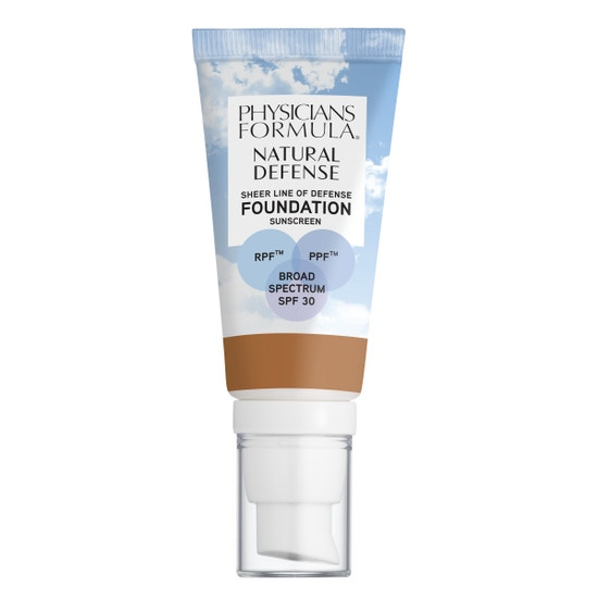Physicians Formula   Natural Defense Sheer Line of Defense Foundation SPF 30- Tan - Product front facing on a white background
