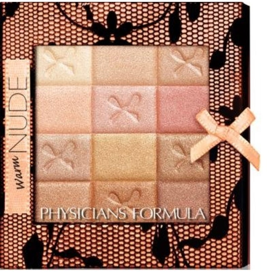 Physicians Formula | Shimmer Strips All-in-1 Custom Nude Palette for Face & Eyes, Warm Nude - Product front facing top view on a white background