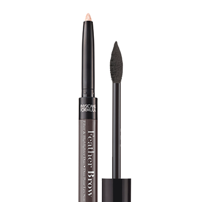 Physicians Formula | Eye Booster Feather Brow Fiber & Highlighter Duo - Product front facing with cap applicator off on a white background