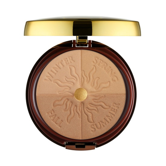 Physicians Formula | Bronze Booster Glow-Boosting Season-to-Season Bronzer, Light to Medium    - Product front facing top view with lid open on a white background