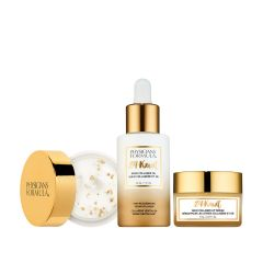 Physicians Formula | 24-Karat Gold Collagen Set - Products front facing, eye cream cap open, with no background