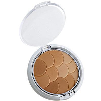 Physicians Formula | Magic Mosaic Multi-Colored Custom Pressed Powder, Warm Beige/Light Bronzer - Product slight angle top view with lid open on a white background