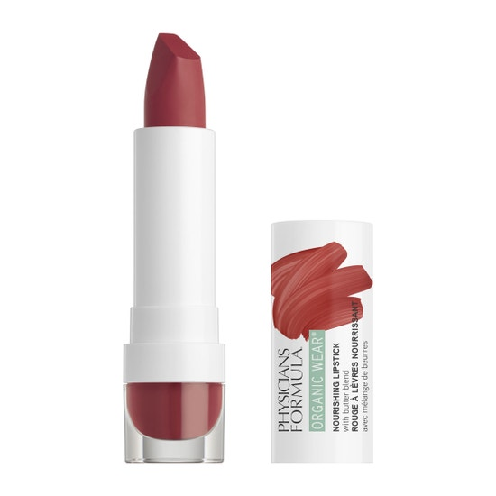 Physicians Formula | Organic Wear Nourishing Lipstick - Spice - Product front facing with cap off on a white background