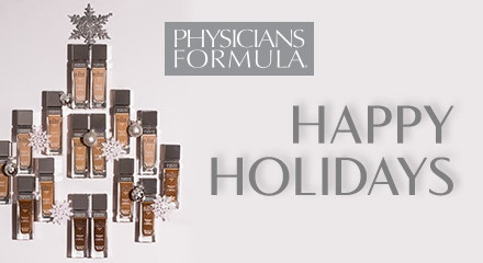 Physicians Formula | Happy Holidays Gift Card - Happy holidays slogan with product arrangements into a christmas tree and brand logo