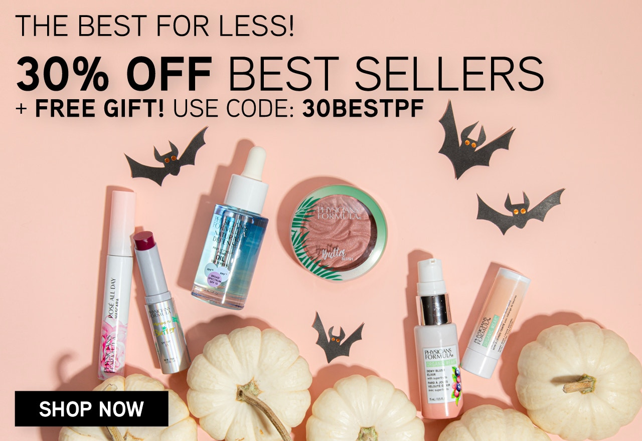 Physicians Formula | The Best For Less! 30% Off Best Sellers - Use Code: 30BESTPF + Free Gift with $40 Purchase! Products scattered with white pumpkins, bats and pink background