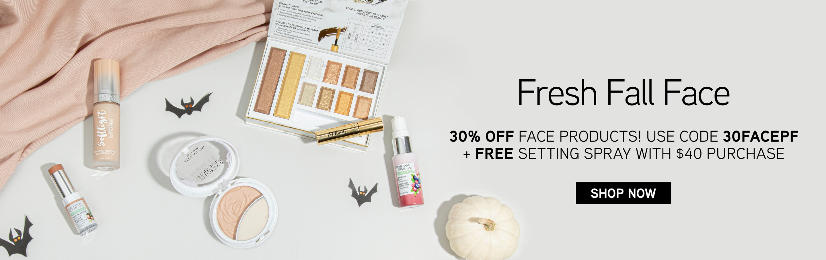 Physicians Formula | Fresh Fall Face - 30% Off Face Products - Use Code: 30FACEPF = Free Setting Spray with $40 Purchase! Shop Now and save on your favorite Bronzers, Highlighters and more! Products scattered with bats and pumpkins and white background