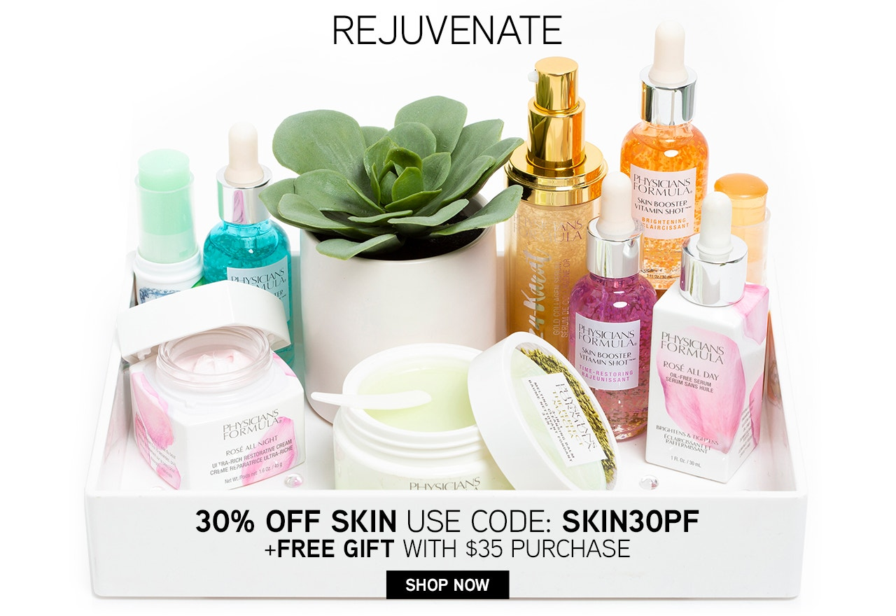 Rejuvenate - 30% Off Skin - Use Code: SKIN30PF + Free Gift with $35+ Purchase | Physicians Formula | Shop Now! Products dsplayed on a white tray, with white background