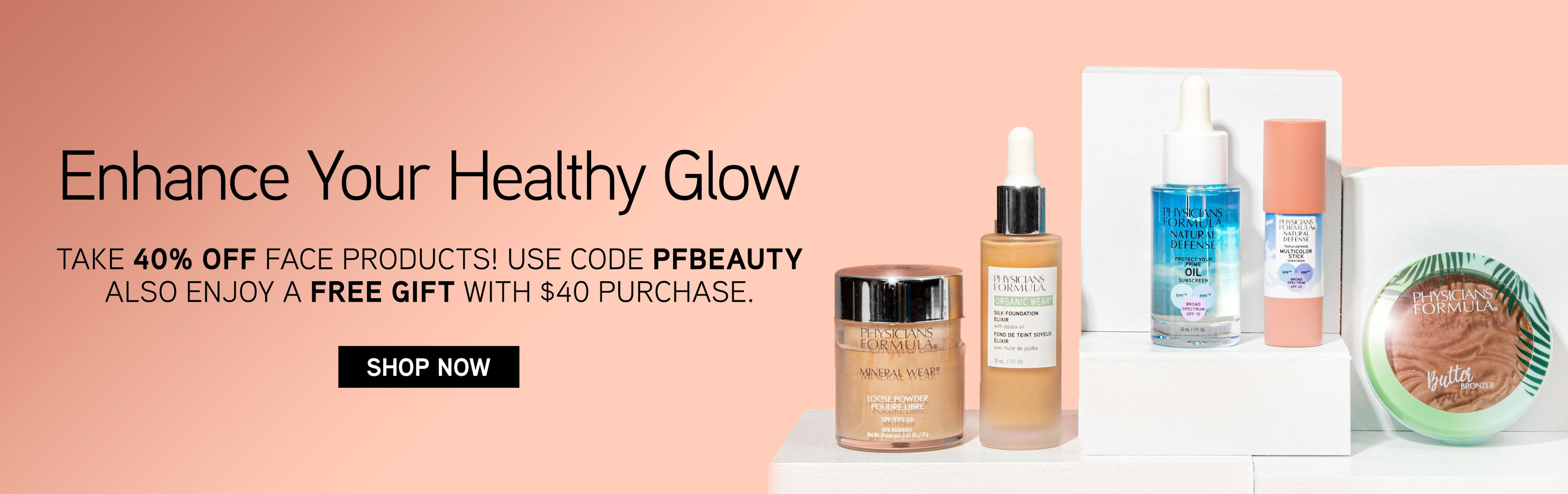 Physcians Formula | Enhance your Healthy Glow with 40% Off Face Products use code: PFBEAUTY + Enjoy a Free Gift with $40 Purchase. Shop Now! Save on your favorite powder, bronzer and more! | Products front facing with caps fastenend on white and peach bac