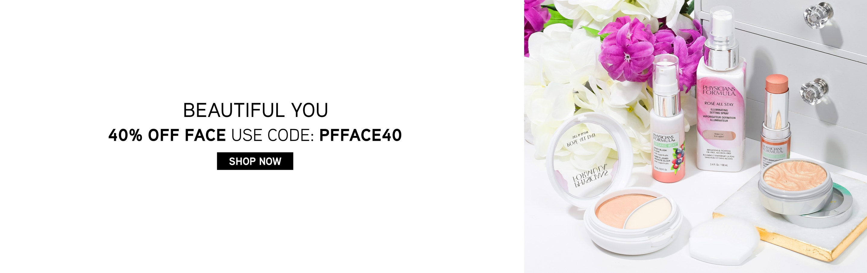 Beautiful You - 40% Off Face - Use Code: PFFACE40 | Shop Now | Physicians Formula | Products displayed wirh flowers in background