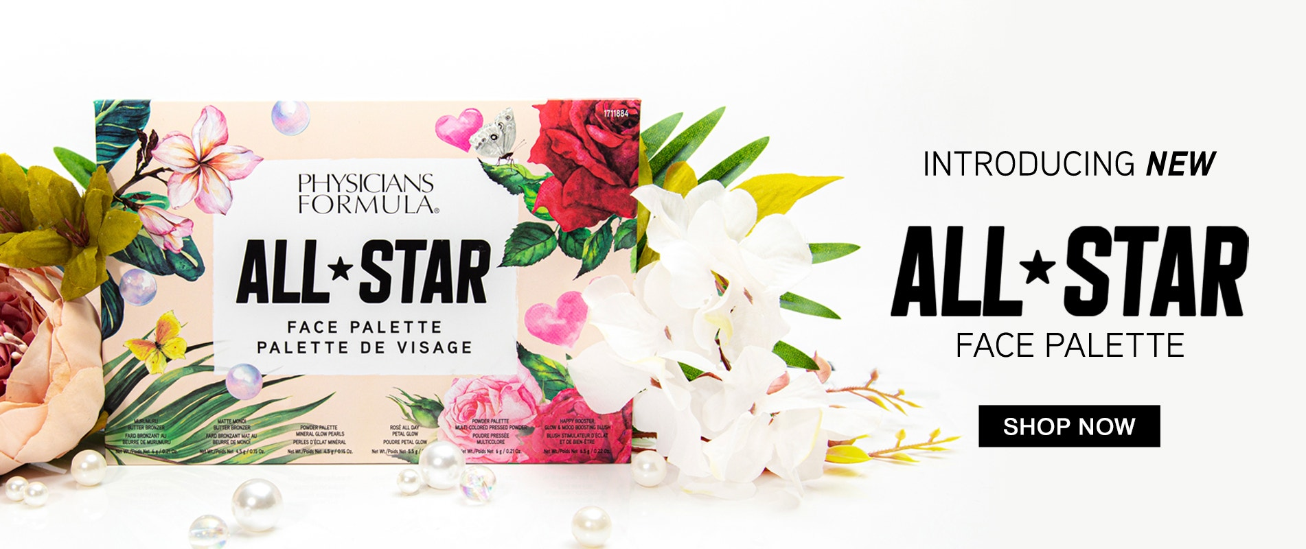 Physicians Formula | Introducing New All-Star Face Palette - Shop Now! Product front facing closed with flowers and white background
