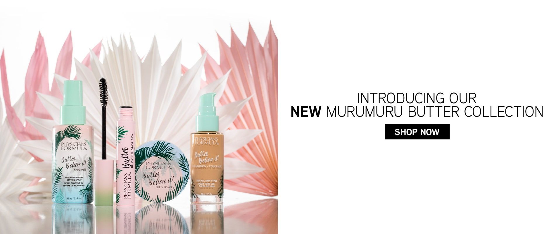 Introducing our New Murumuru Butter Collection | Physicians Formula | Shop Now | Products front facing, with white and pink background