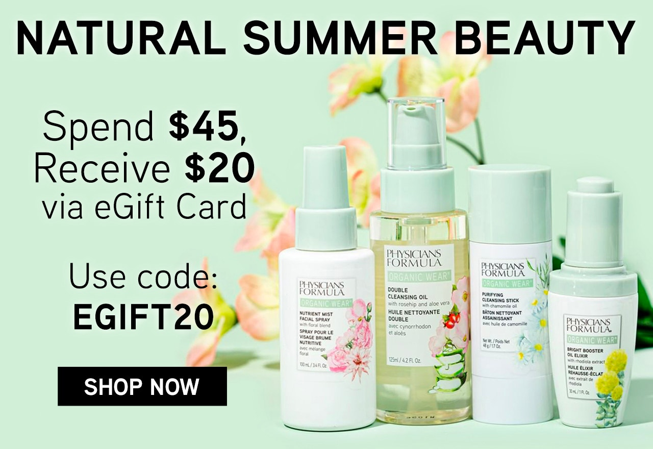 Physicians Formula | Natural Summer Beauty - Spend $45, receive a $20 eGift Card - Use Code: EGIFT20 - Save on Butter Bronzer, blush and more! | Products Front Facing with caps fastened, with flowers in the background