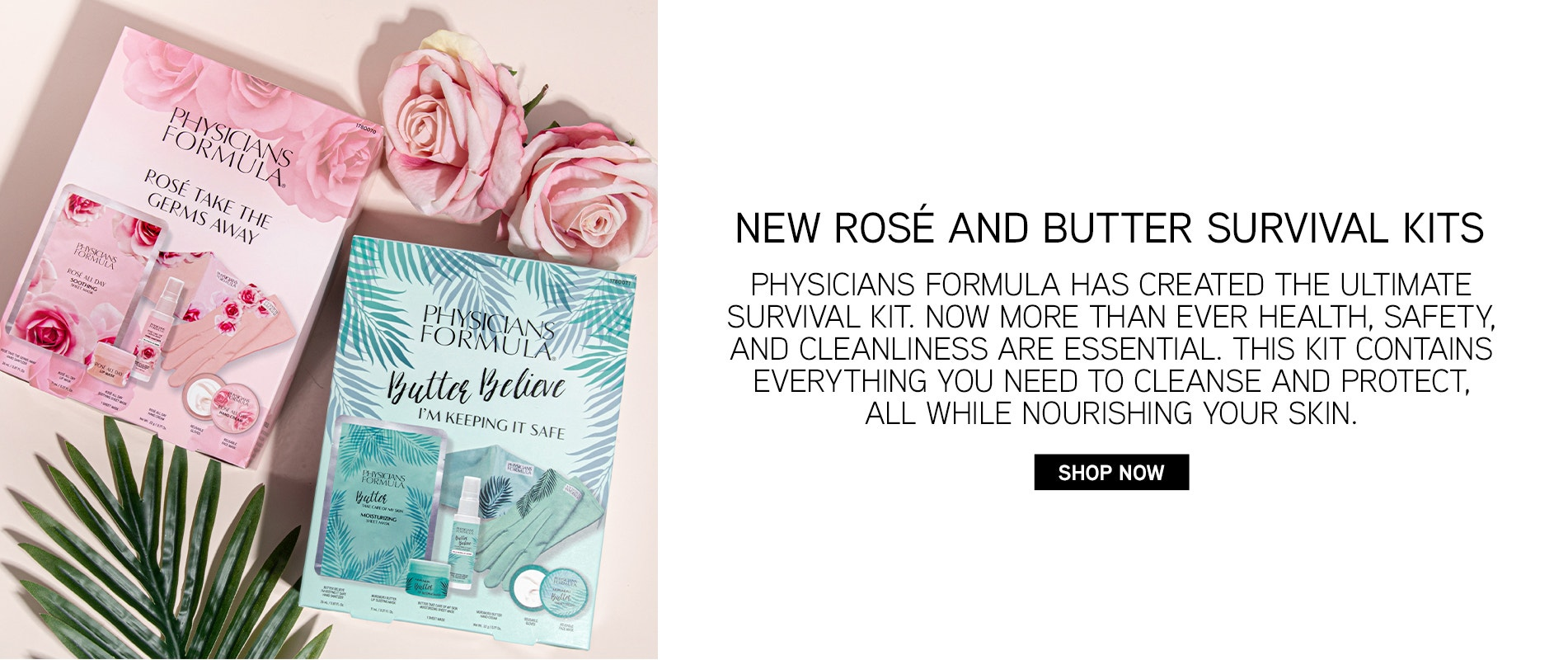 New Rosé and Butter Survival Kits | Physicians Formula | Product in box front facing with pink background