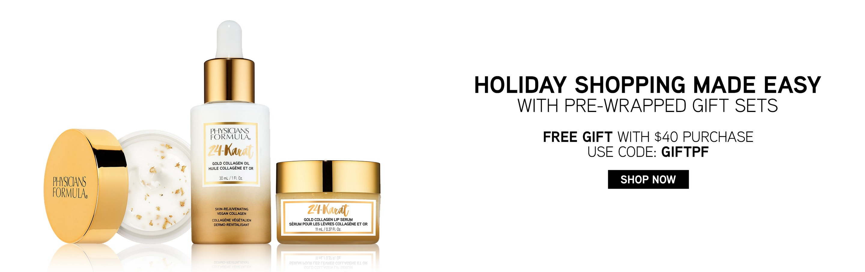 Physicians Formula | Holiday Shopping made easy withpre-wrapped gift sets. Free Gift with $40 purchase, use code: GIFTPF. Products front facing, eye cream with lid open, with no background.