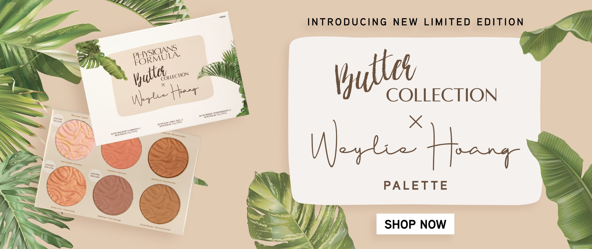 Physicians Formula | Introducing New Limited Edition Butter Collection X Weylie Hoand Palette | Open palette with colored background and leaves around boarder