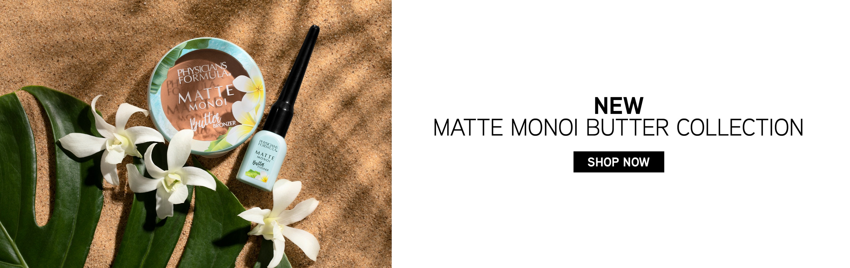 New Matte Monoi Butter Collection | Physicians Formula | Shop Now! | Products angled caps fastenend with sand background