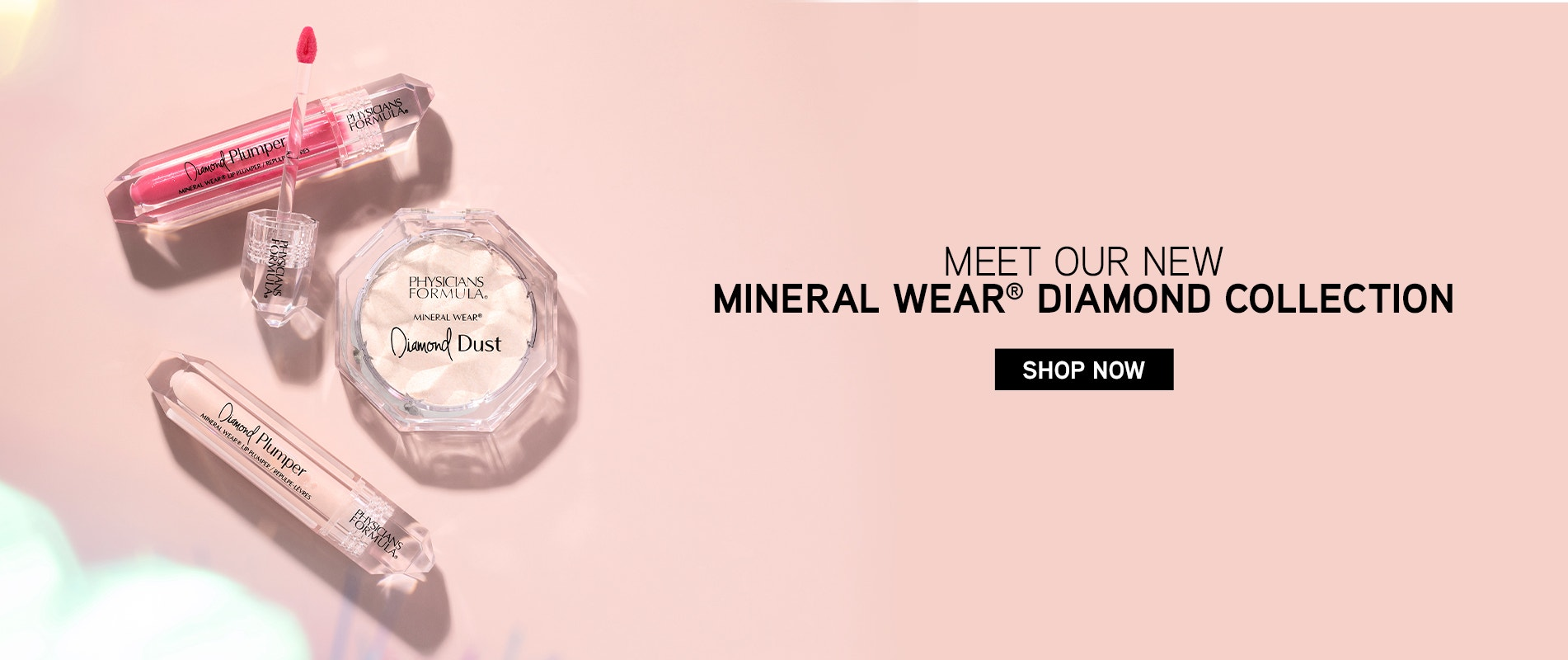 Meet our New Mineral Wear® Diamond Collection | Shop Now! | Products angled with pink background