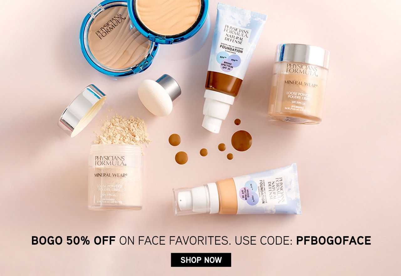 Physicians Formula Buy One Get One 50% Off Face Category Shop Now with Promo Code: PFBOGOFACE