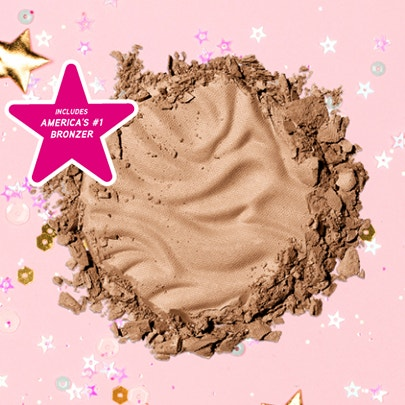 Physicians Formula | Murumuru Butter Bronzer - Product swatch, with confetti and pink background