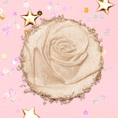 Physicians Formula | Rosé All Day Petal Glow - Product swatch, with confetti and pink background