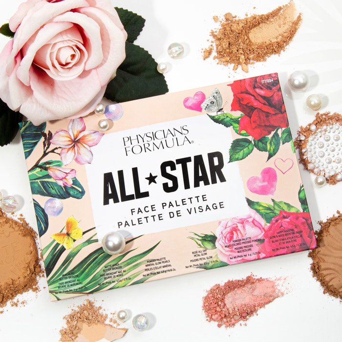 All-Star Face Palette | Physicians Formula | Product angeled lid open, with swatches and white background