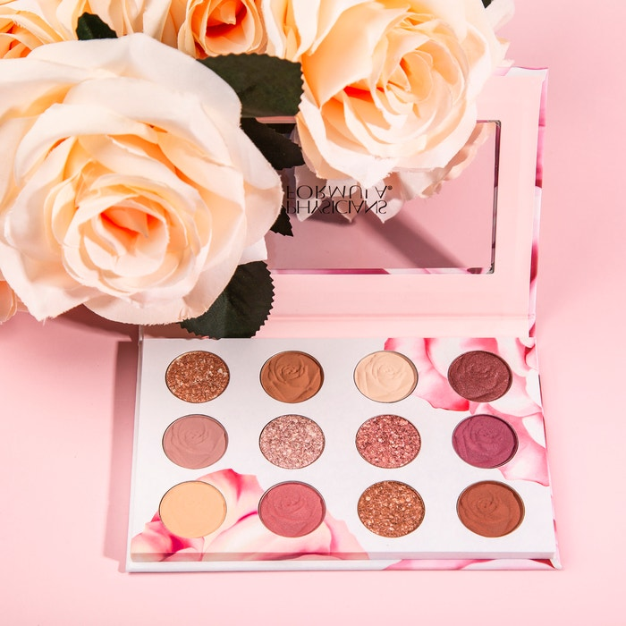 Rosé All Play Eyeshadow Bouquet | Physicians Formula | Product front facing open with roses and pink background