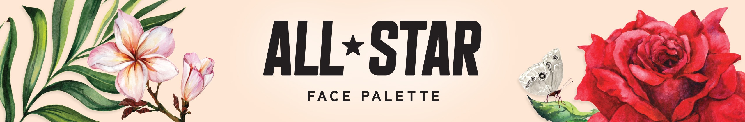 Physicians Formula | All-Star Palette - Flowers, leaves, butterfly on nude background