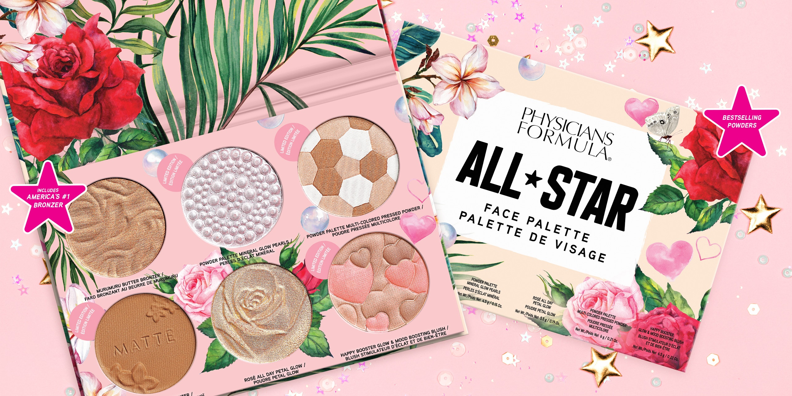 Physicians Formula | All-Star Face Palette - Product angled one open, one closed, with pink background